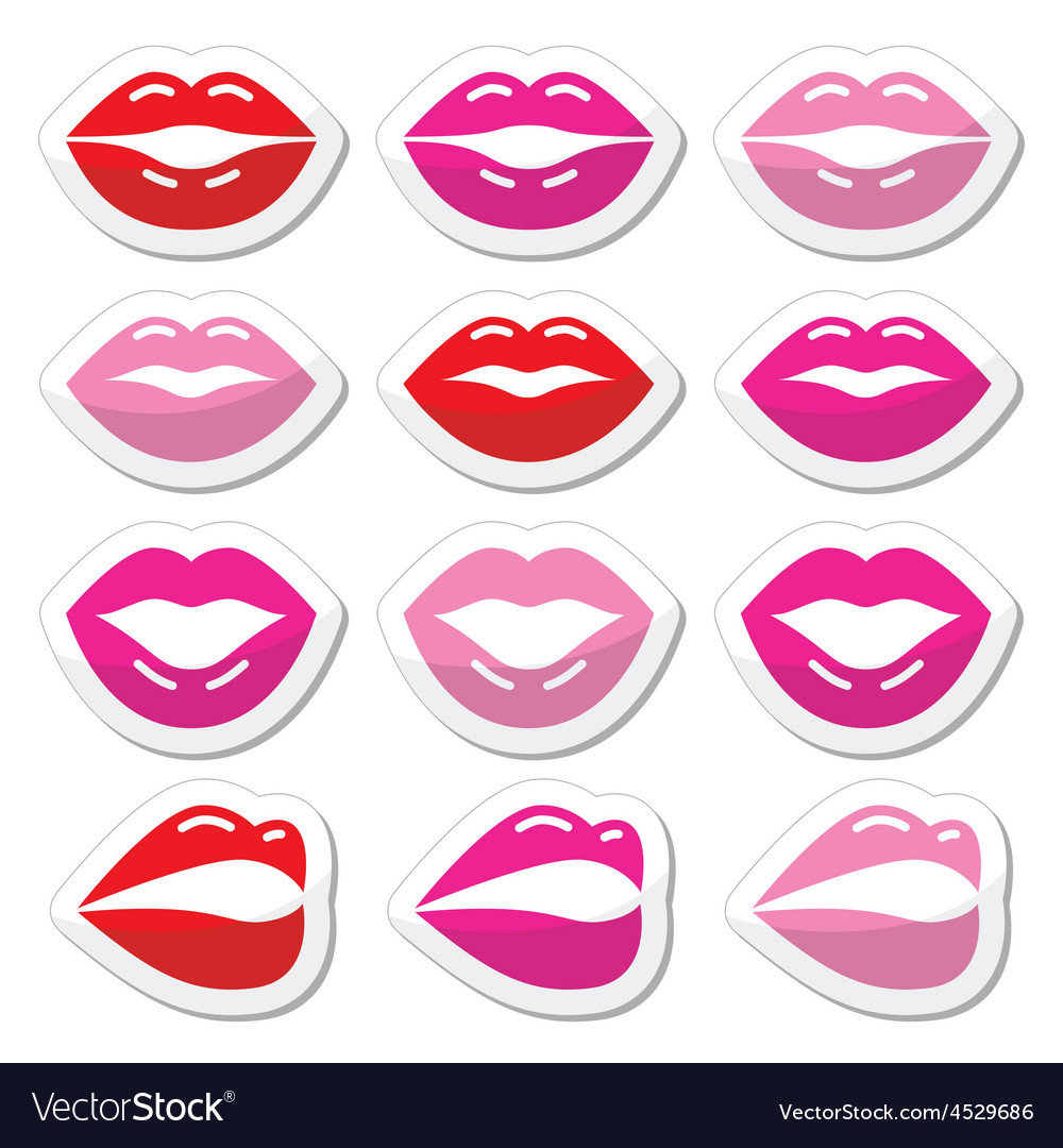 Lips kiss red pink and black glossy icons vector | Price: 1 Credit (USD $1)