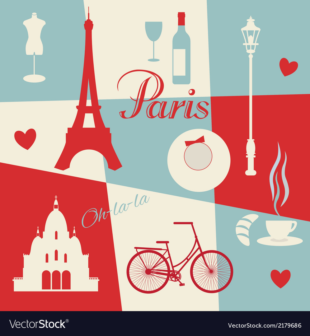 Retro style poster with paris vector | Price: 1 Credit (USD $1)