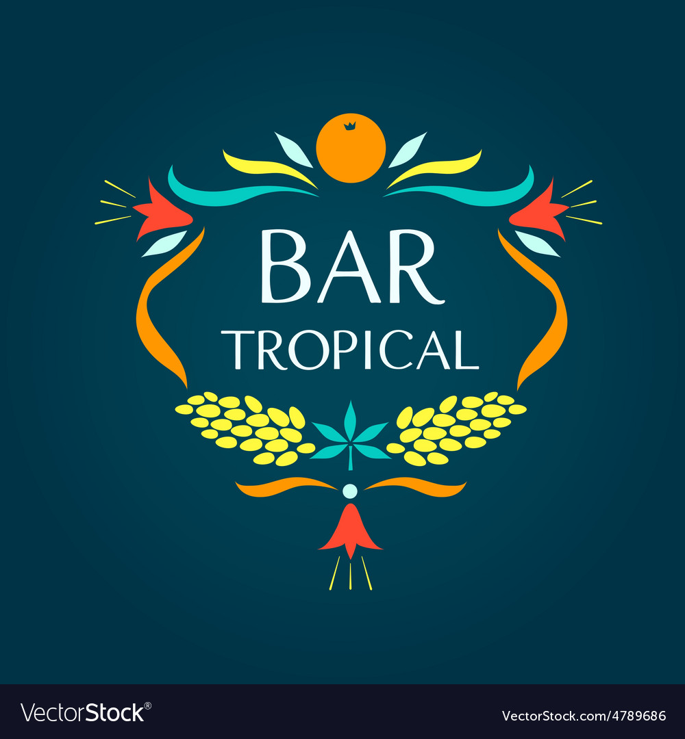 Template logo tropical bar oval frame of vector | Price: 1 Credit (USD $1)