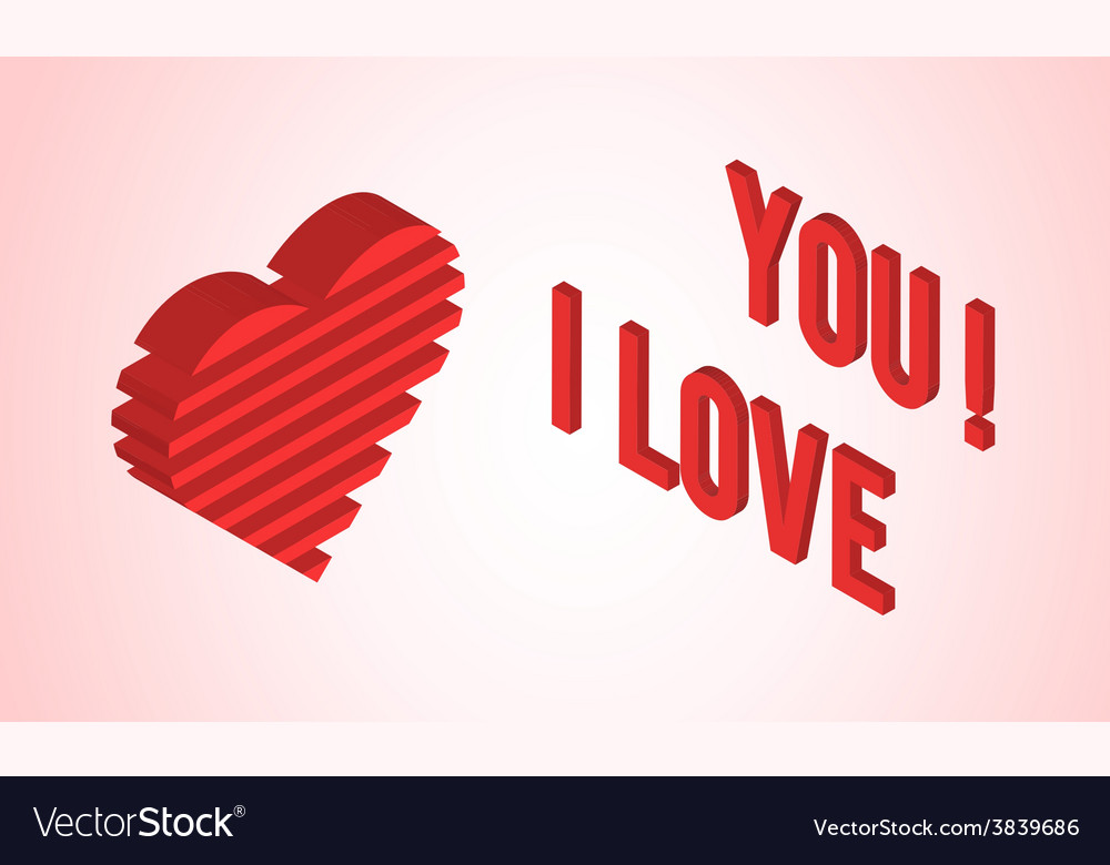 Valentines day card with isometric heart vector | Price: 1 Credit (USD $1)