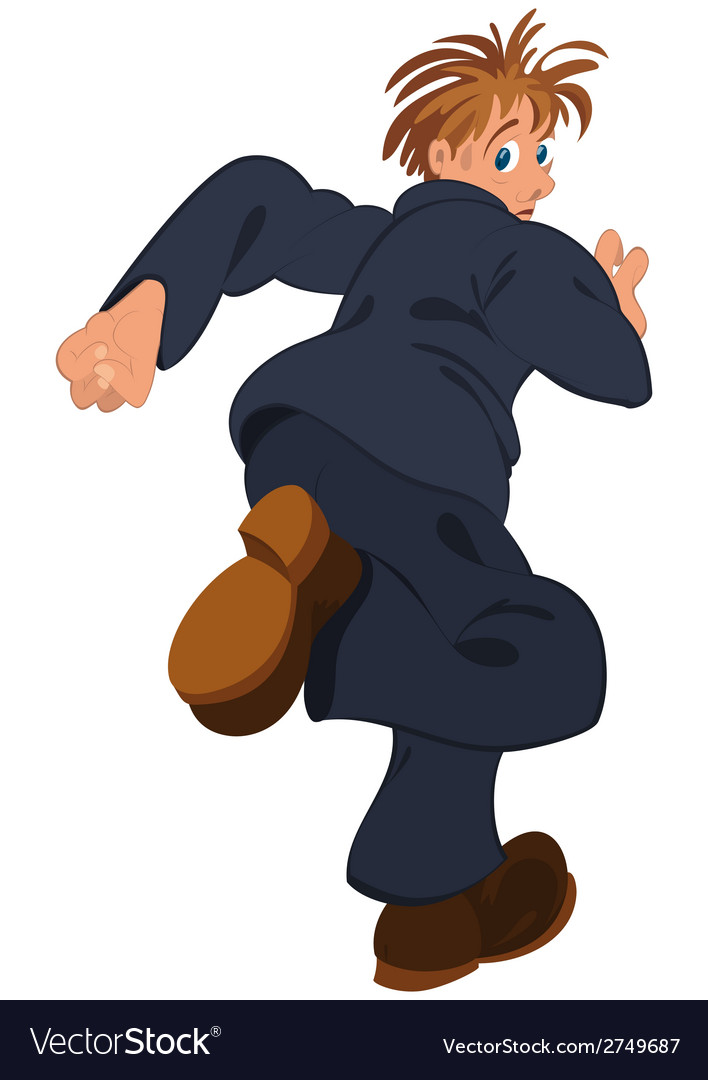 Cartoon man in blue suit running away vector | Price: 1 Credit (USD $1)