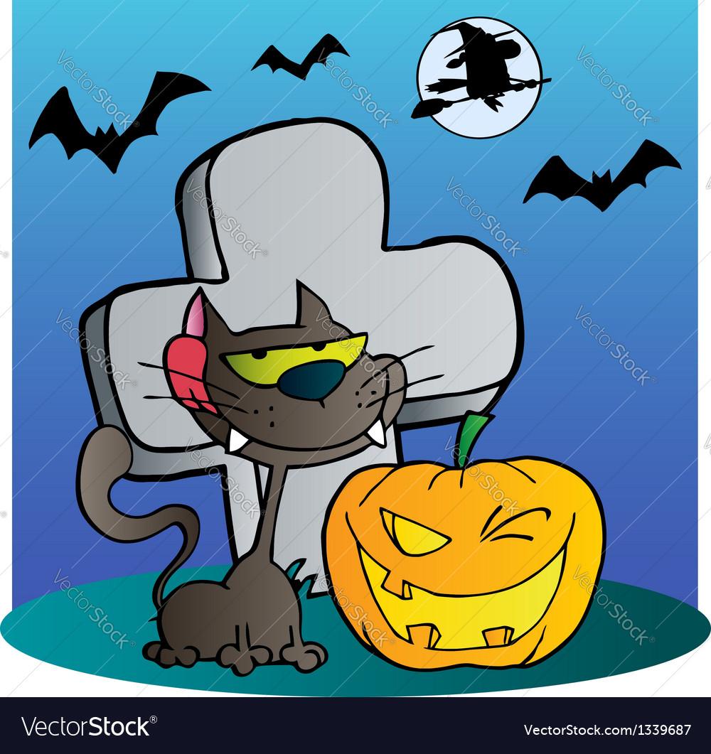 Cat and winking halloween jackolantern pumpkin vector   Price: 1 Credit (USD $1)