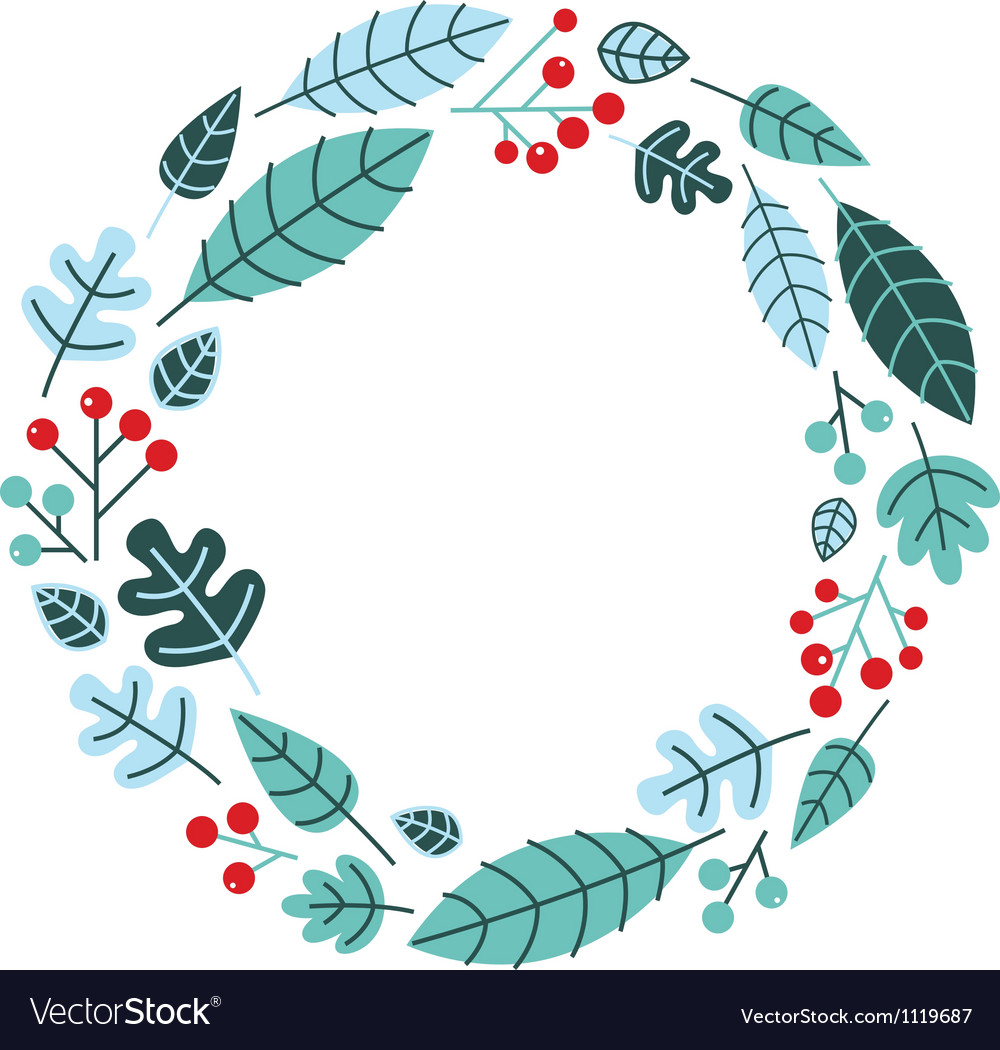 Christmas retro holiday wreath isolated on white vector | Price: 1 Credit (USD $1)