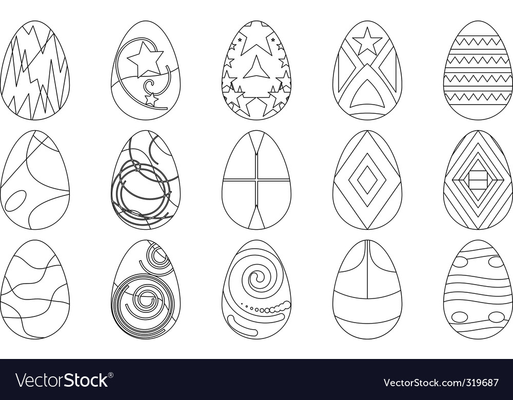 Easter eggs contours vector | Price: 1 Credit (USD $1)