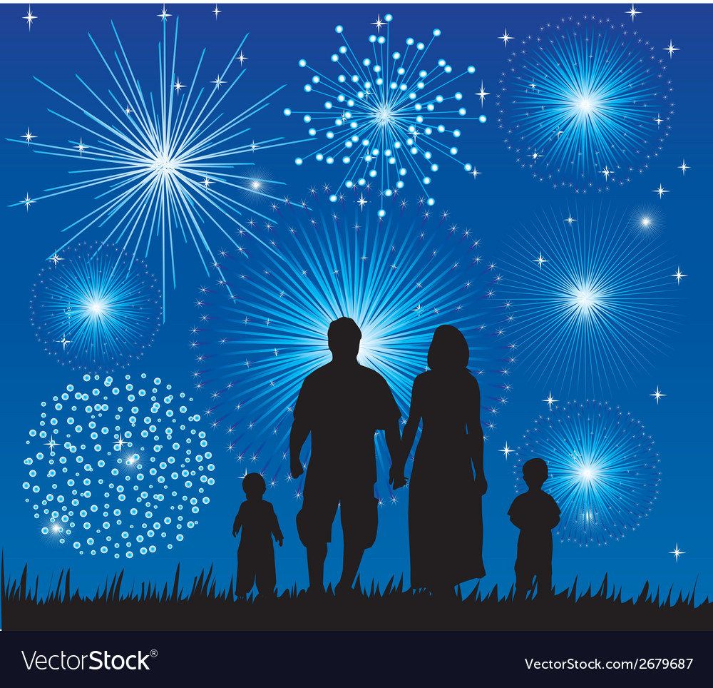 Family fireworks vector | Price: 1 Credit (USD $1)