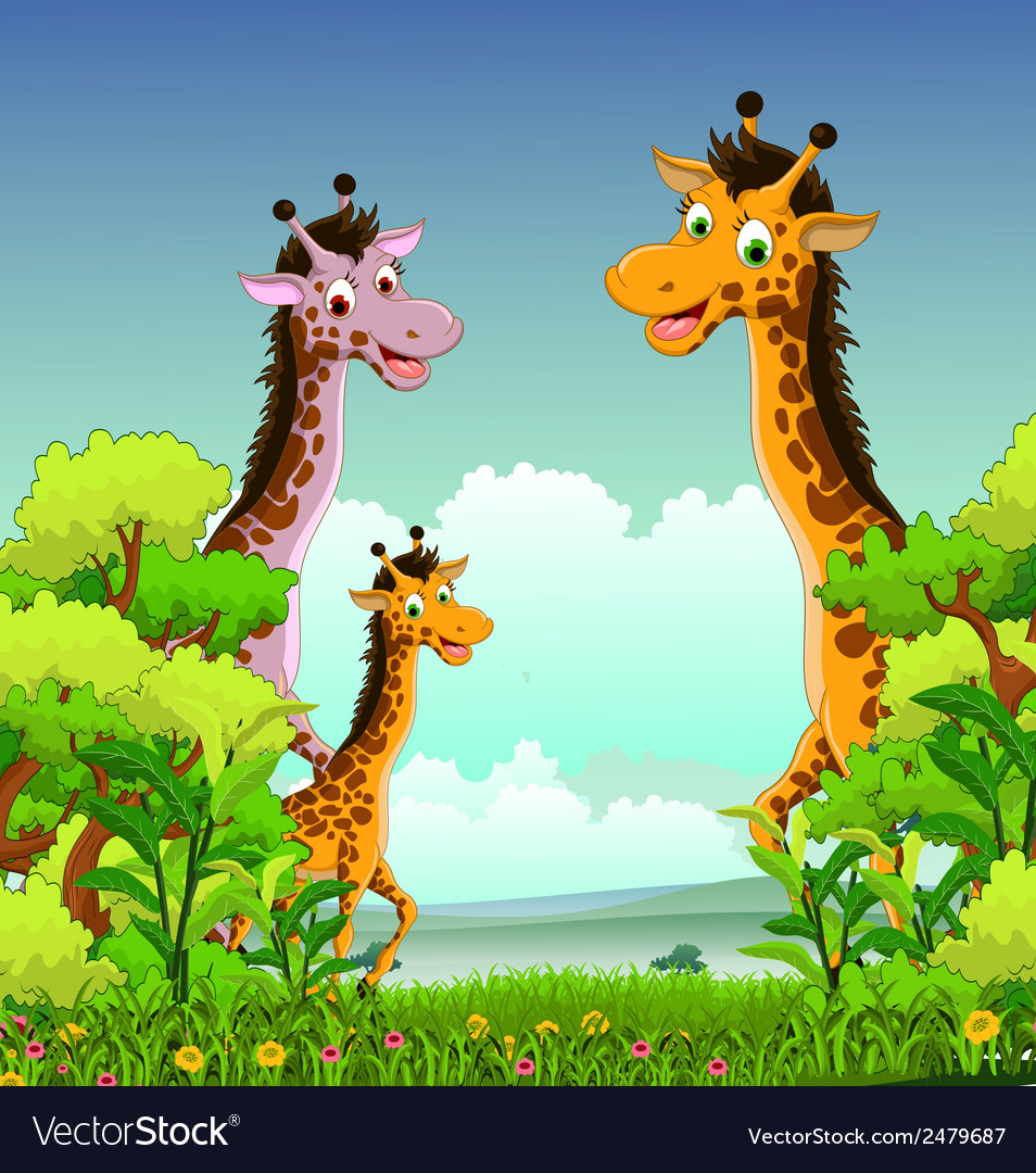Giraffe cartoon with forest background vector | Price: 1 Credit (USD $1)