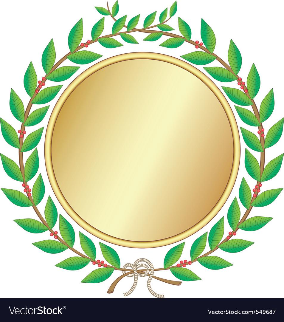 Laurel wreath with medal vector   Price: 1 Credit (USD $1)