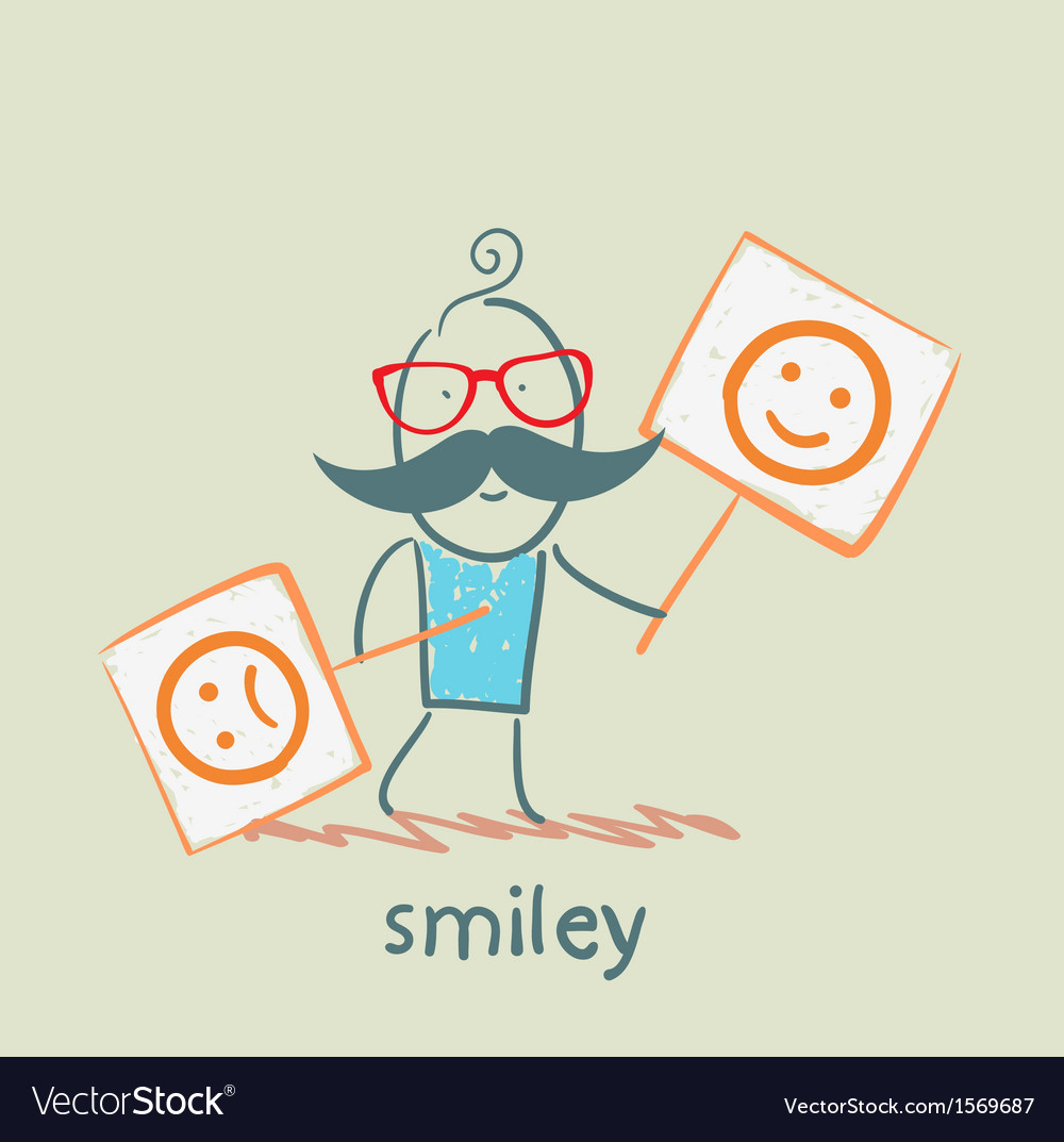 People holding posters with funny and sad smiles vector | Price: 1 Credit (USD $1)