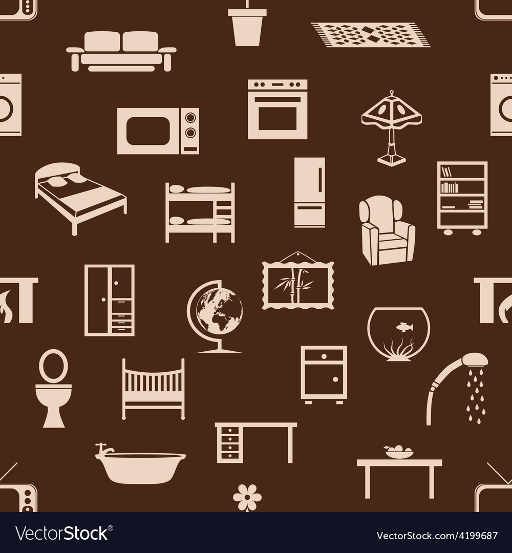 Seamless home equipment pattern vector | Price: 1 Credit (USD $1)