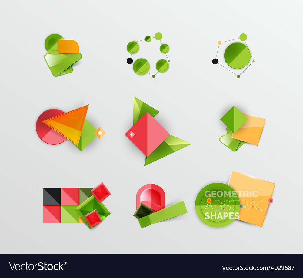 Set of abstract geometric shape icons vector | Price: 1 Credit (USD $1)