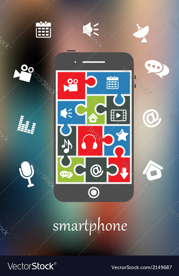 Smart phone display with multimedia icons vector | Price: 1 Credit (USD $1)