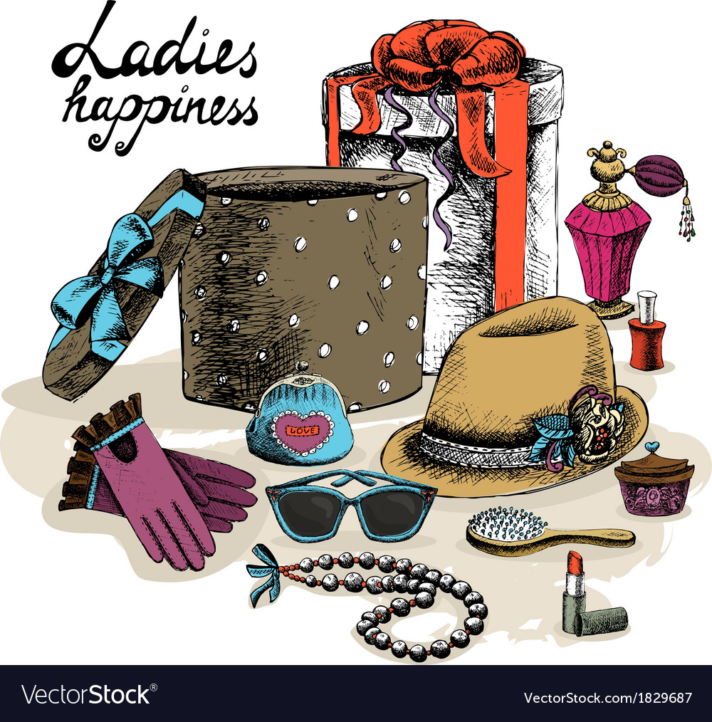 Womens accessories from open gift box vector | Price: 1 Credit (USD $1)