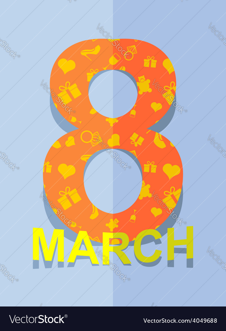 8 march international womens day 3d postcard vector | Price: 1 Credit (USD $1)