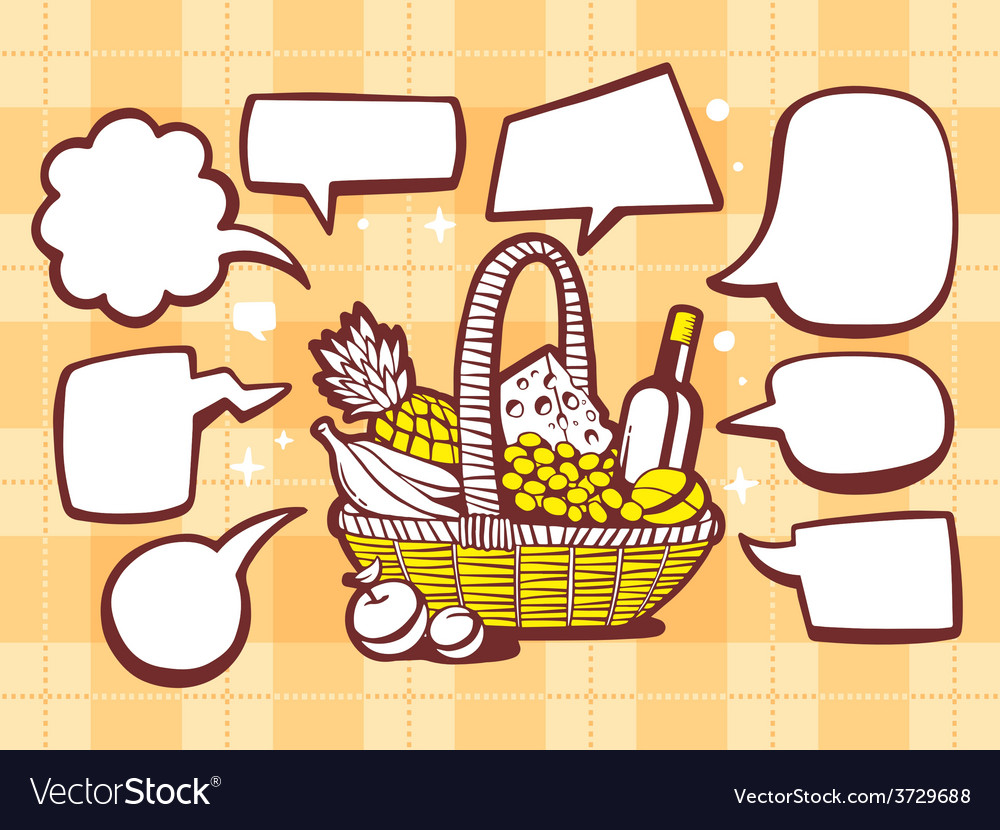 Basket with food with speech comics bubbl vector | Price: 1 Credit (USD $1)