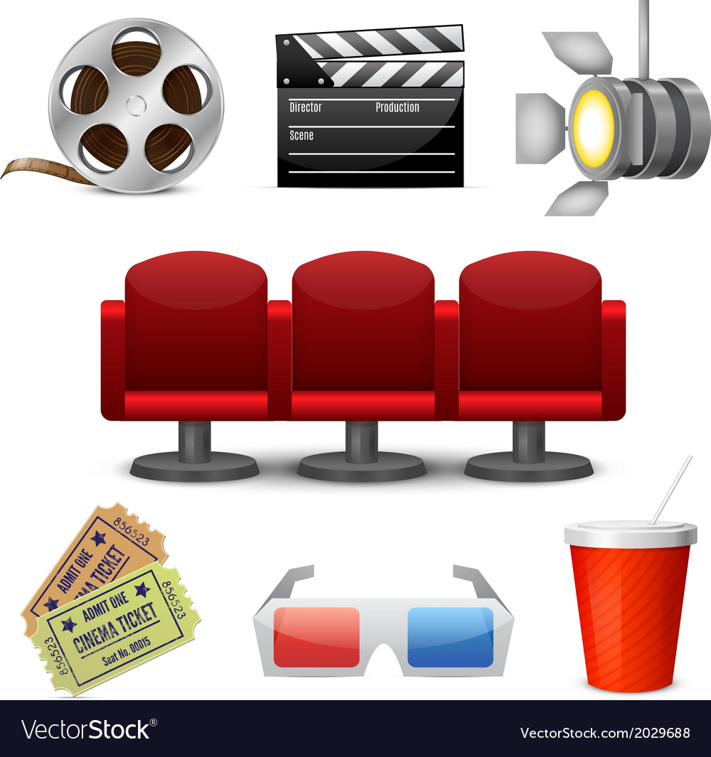 Cinema entertainment decorative icons vector | Price: 1 Credit (USD $1)