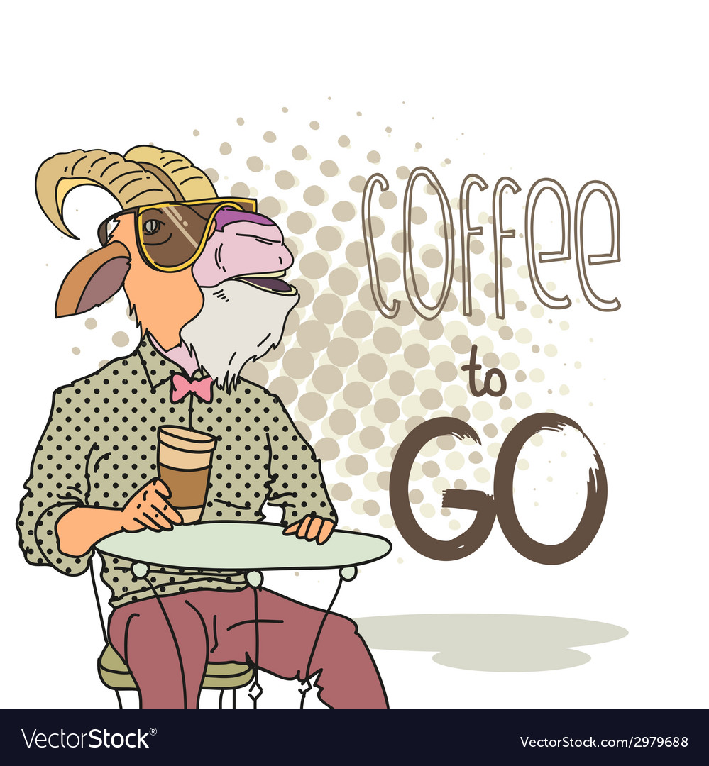 Goat with cup of coffee vector | Price: 1 Credit (USD $1)