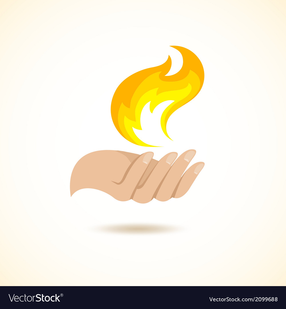 Hands hold fire vector | Price: 1 Credit (USD $1)