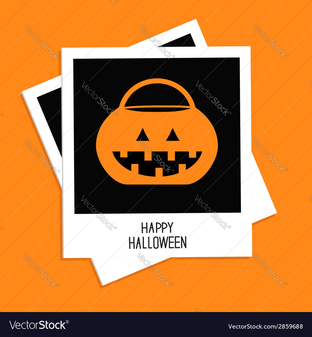 Instant photo with rrick or treat pumpkin bucket vector | Price: 1 Credit (USD $1)