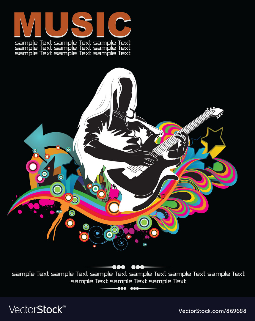 Music background with guitar player vector | Price: 1 Credit (USD $1)