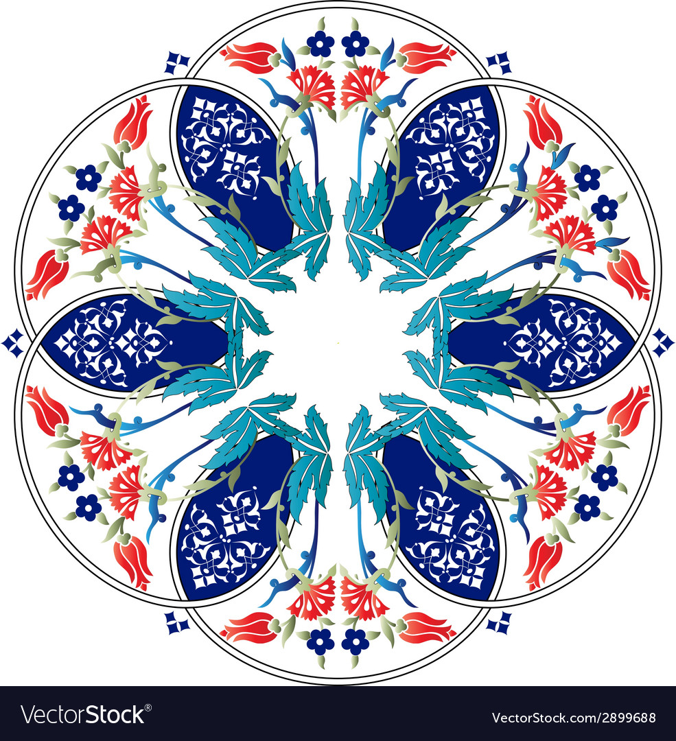 Ottoman motifs design series ninety one colored vector | Price: 1 Credit (USD $1)