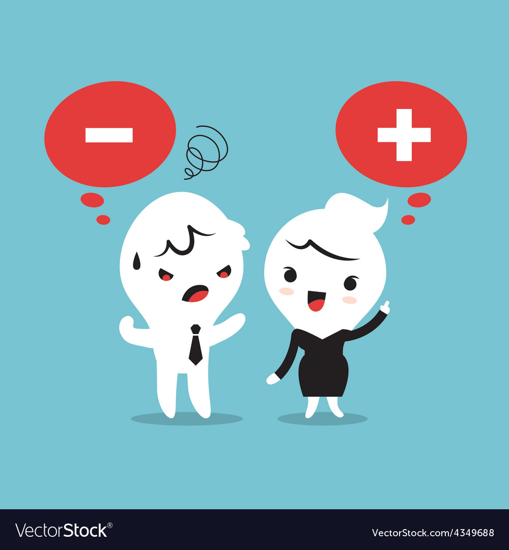 Positive and negative thinking cartoon vector | Price: 1 Credit (USD $1)