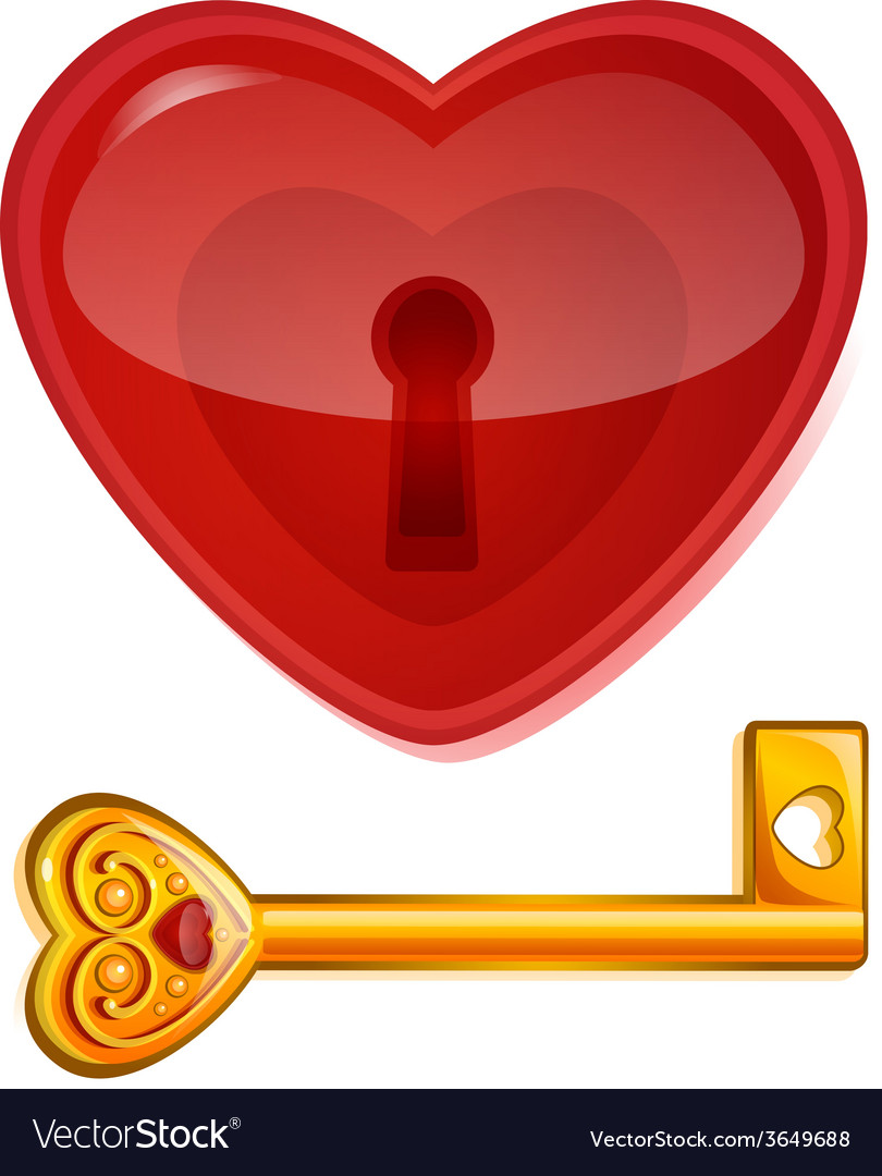 Red lock in the shape of heart vector | Price: 1 Credit (USD $1)