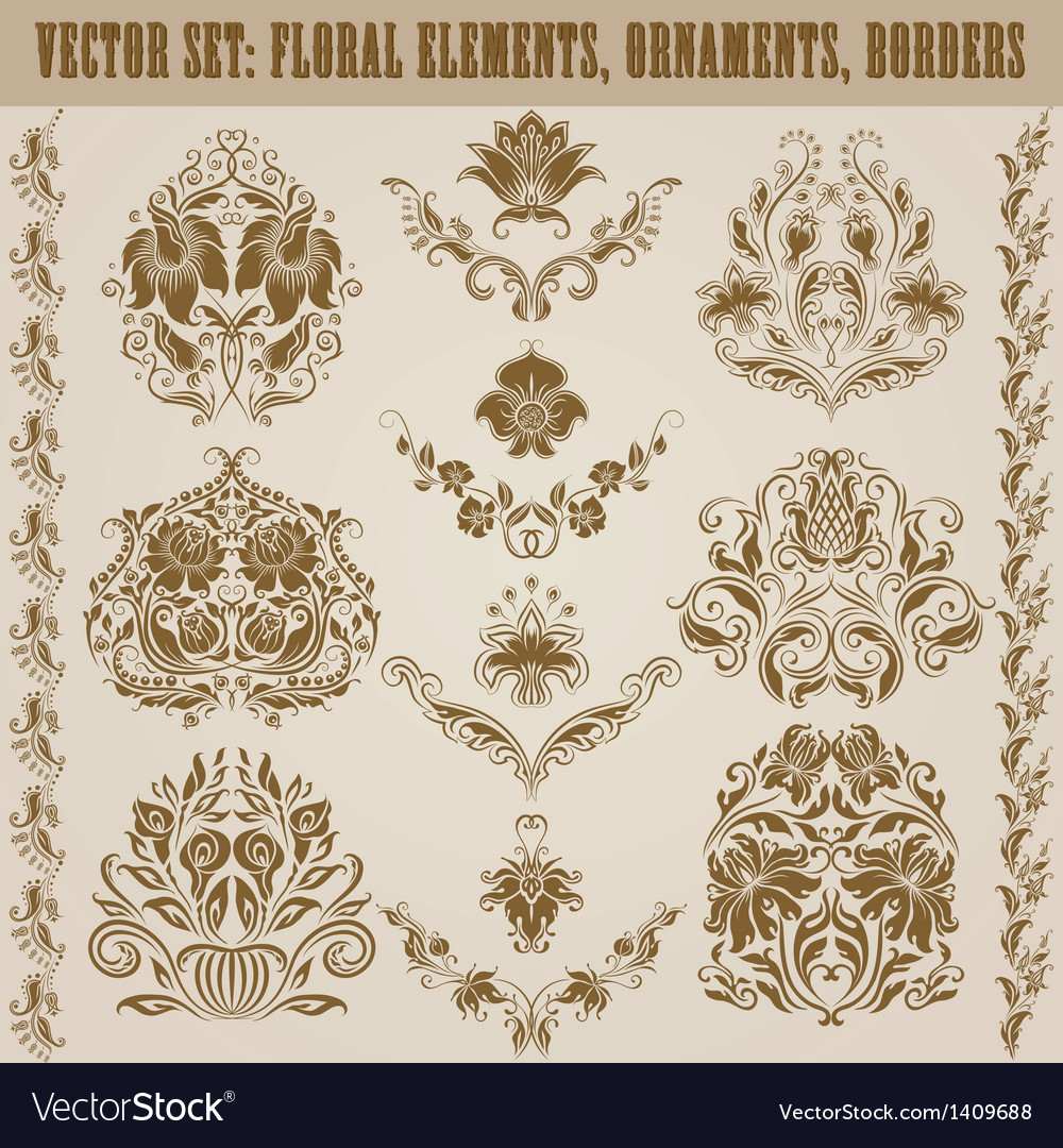 Set of damask ornaments vector | Price: 1 Credit (USD $1)