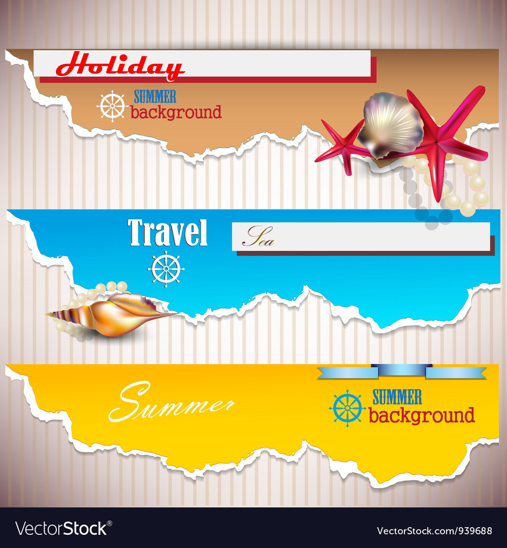 Set of holiday banners with shells and place for vector | Price: 1 Credit (USD $1)