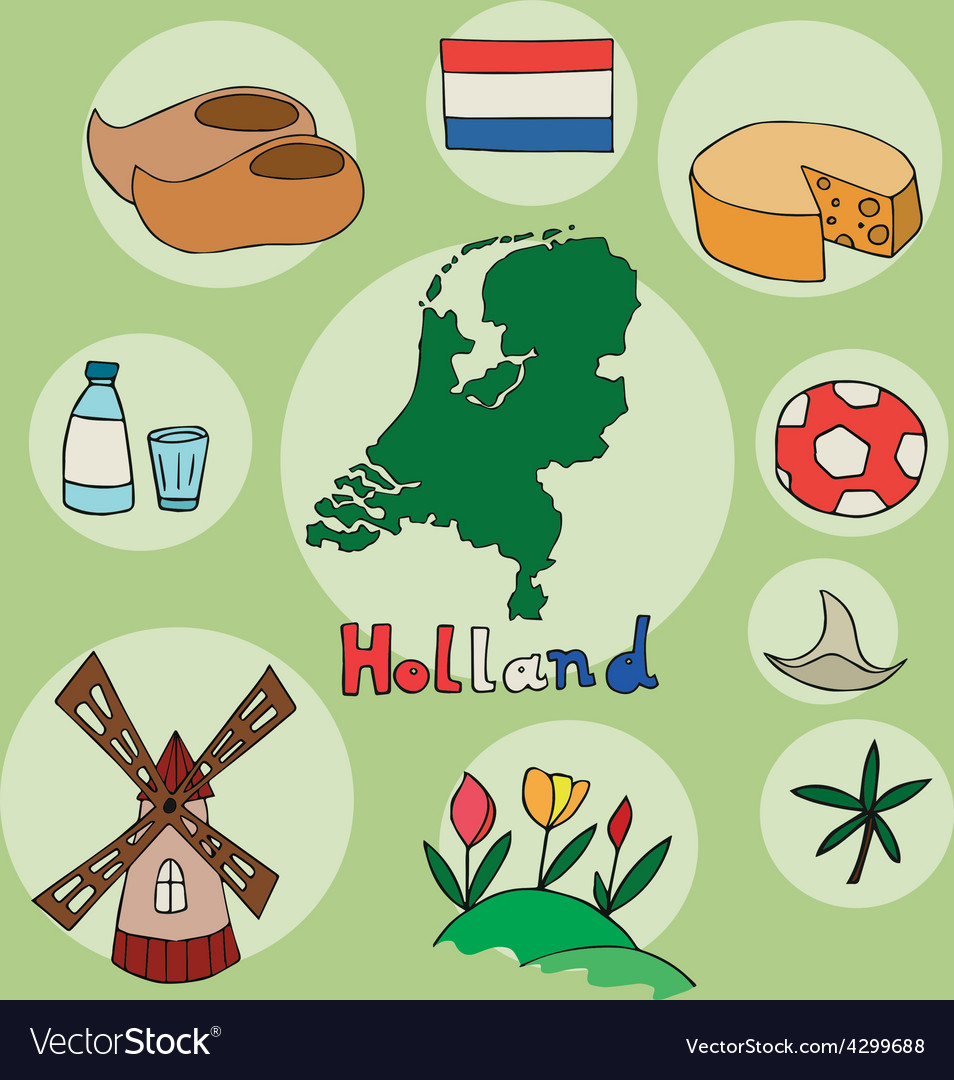 Set of national profile of the holland vector | Price: 1 Credit (USD $1)