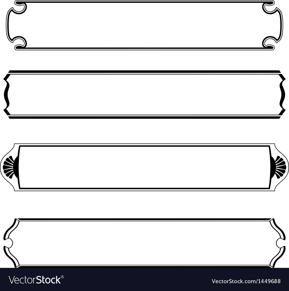 Set of simple black banners border frame vector