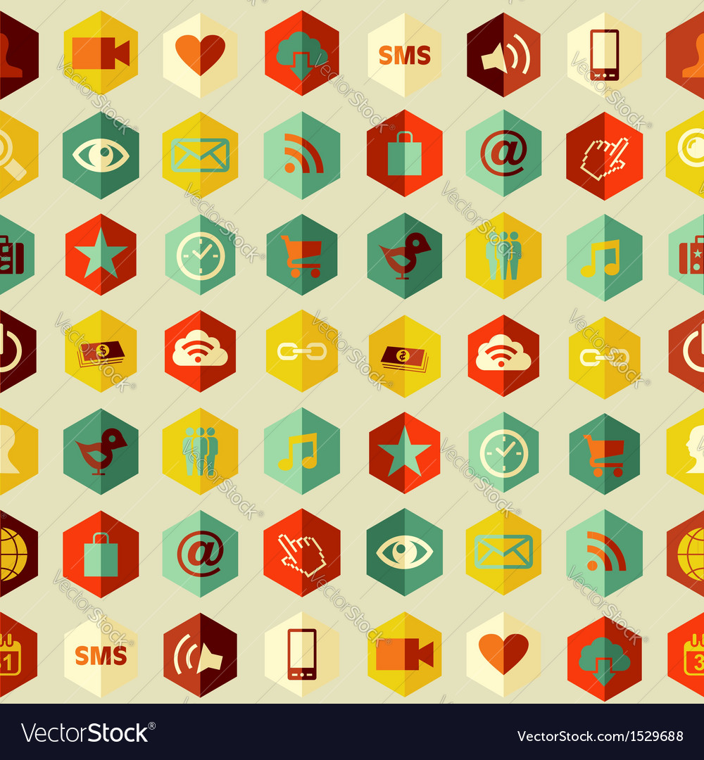 Social media flat icons seamless pattern vector | Price: 1 Credit (USD $1)