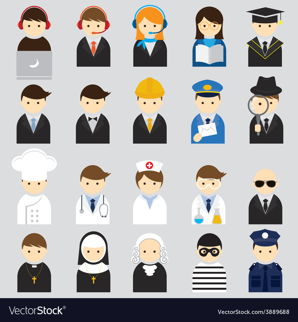 Various people symbol icons occupation set vector | Price: 1 Credit (USD $1)