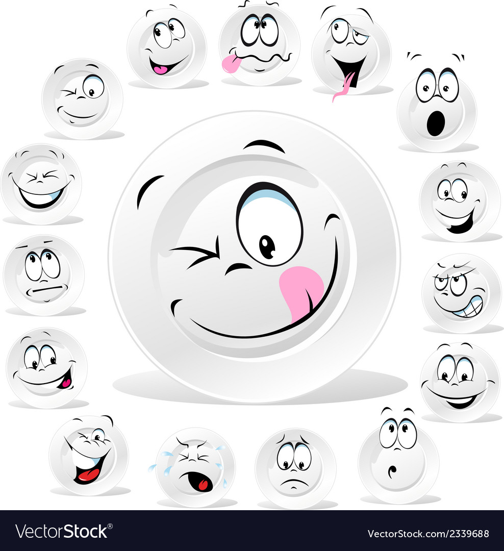 White plate cartoon with many expressions vector | Price: 1 Credit (USD $1)