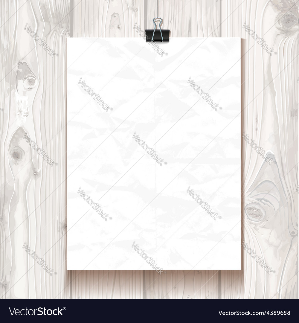 White wrinkled texture paper hanging on one binder vector | Price: 1 Credit (USD $1)