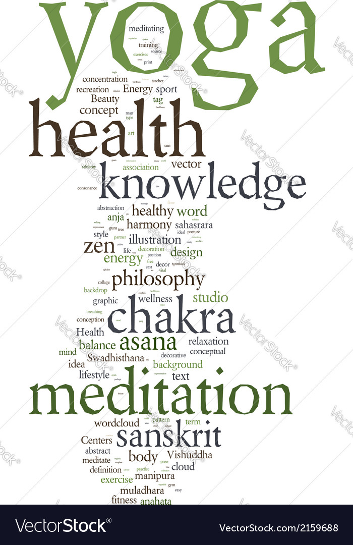 Yoga word collage on white background vector   Price: 1 Credit (USD $1)