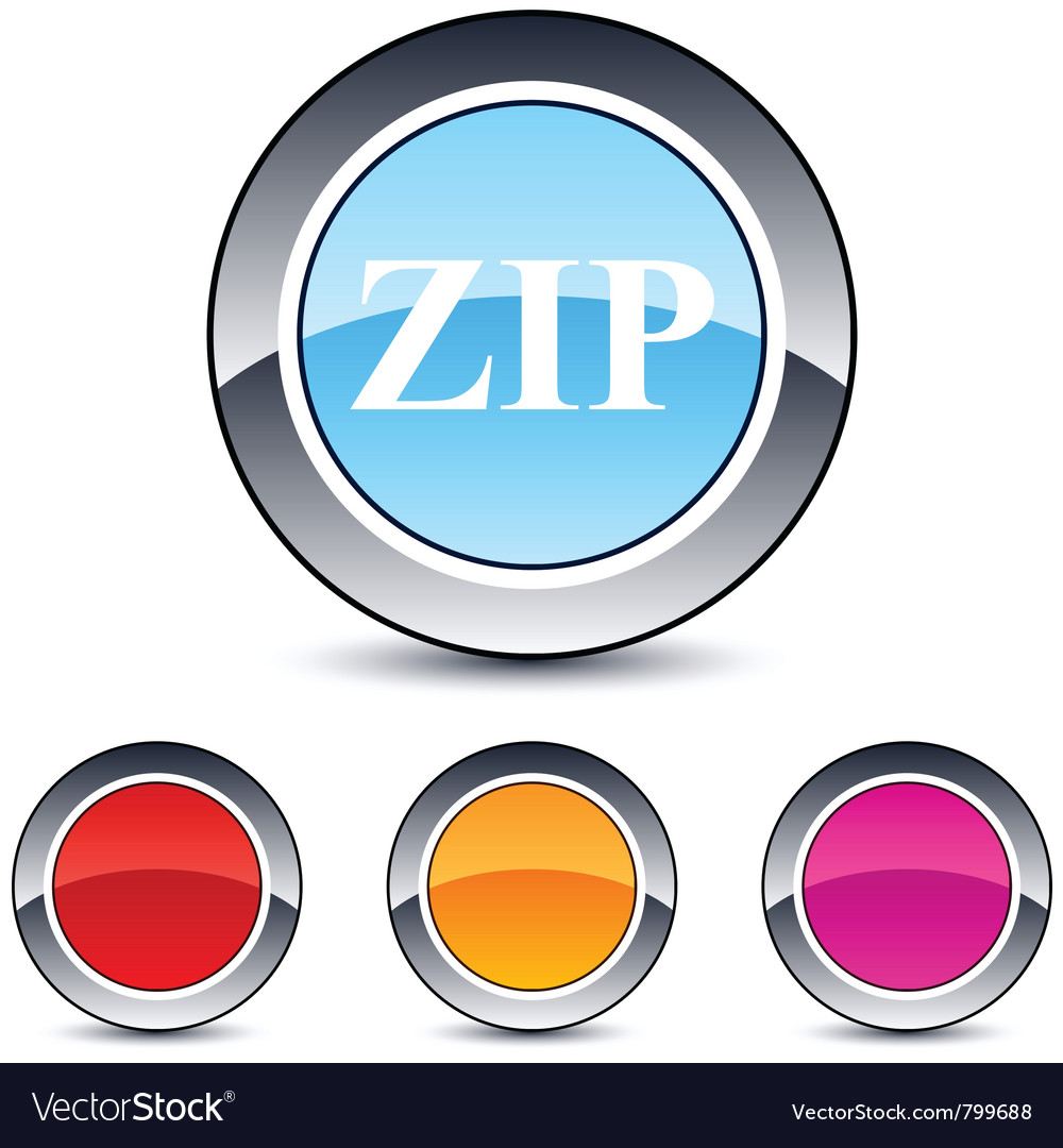 Zip round button vector | Price: 1 Credit (USD $1)