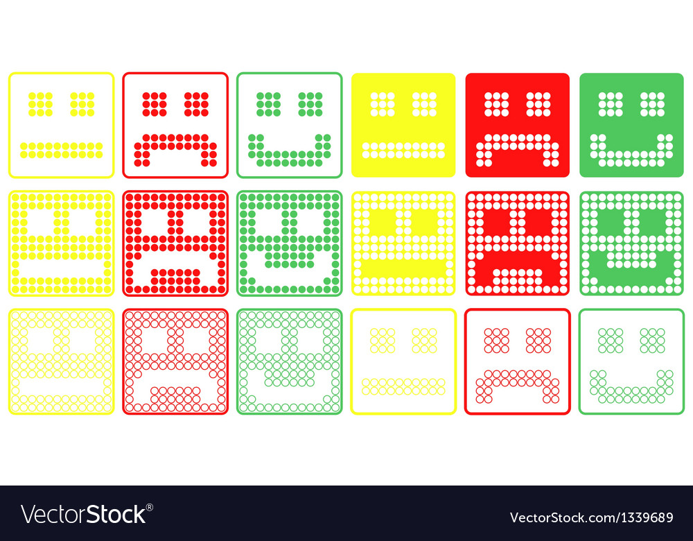 Basic smilies symbols patchwork of color dots vector | Price: 1 Credit (USD $1)
