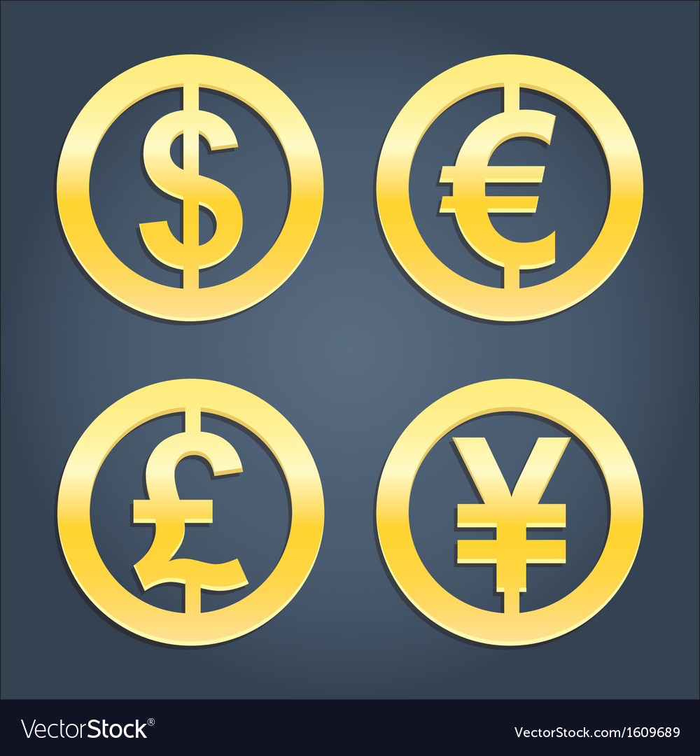 Dollar euro pound and yen gold signs collection vector | Price: 1 Credit (USD $1)