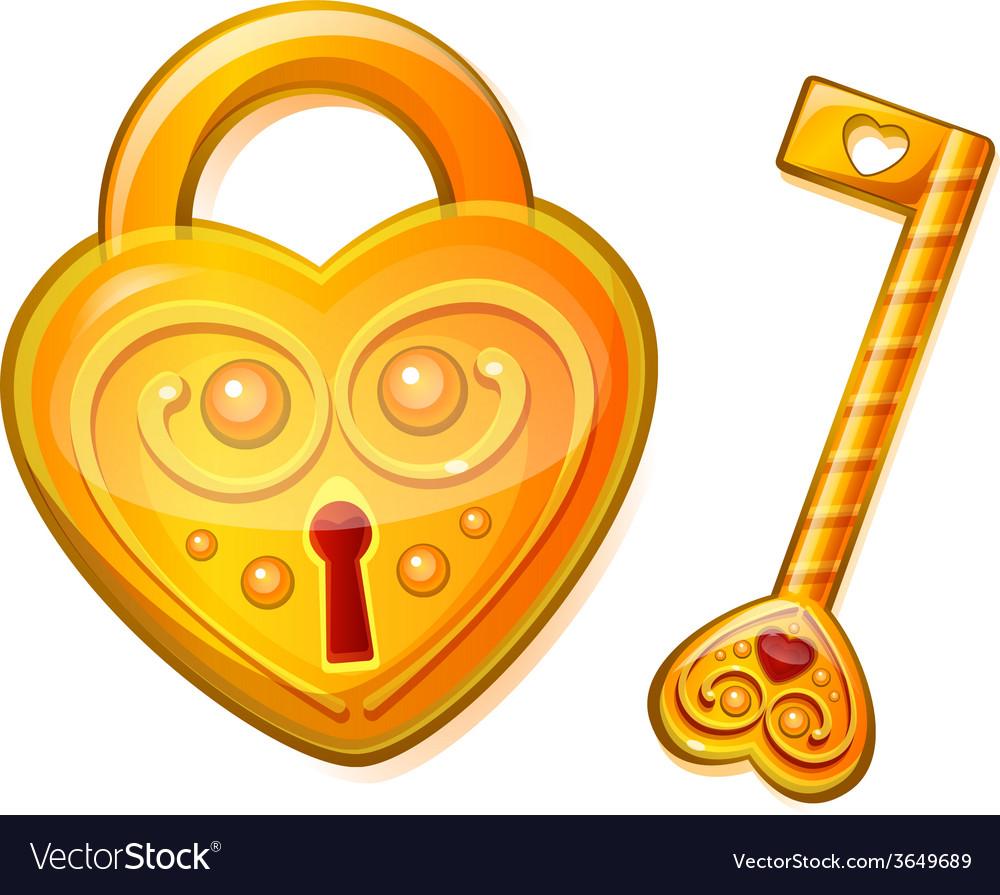 Golden lock in the shape of heart vector   Price: 1 Credit (USD $1)