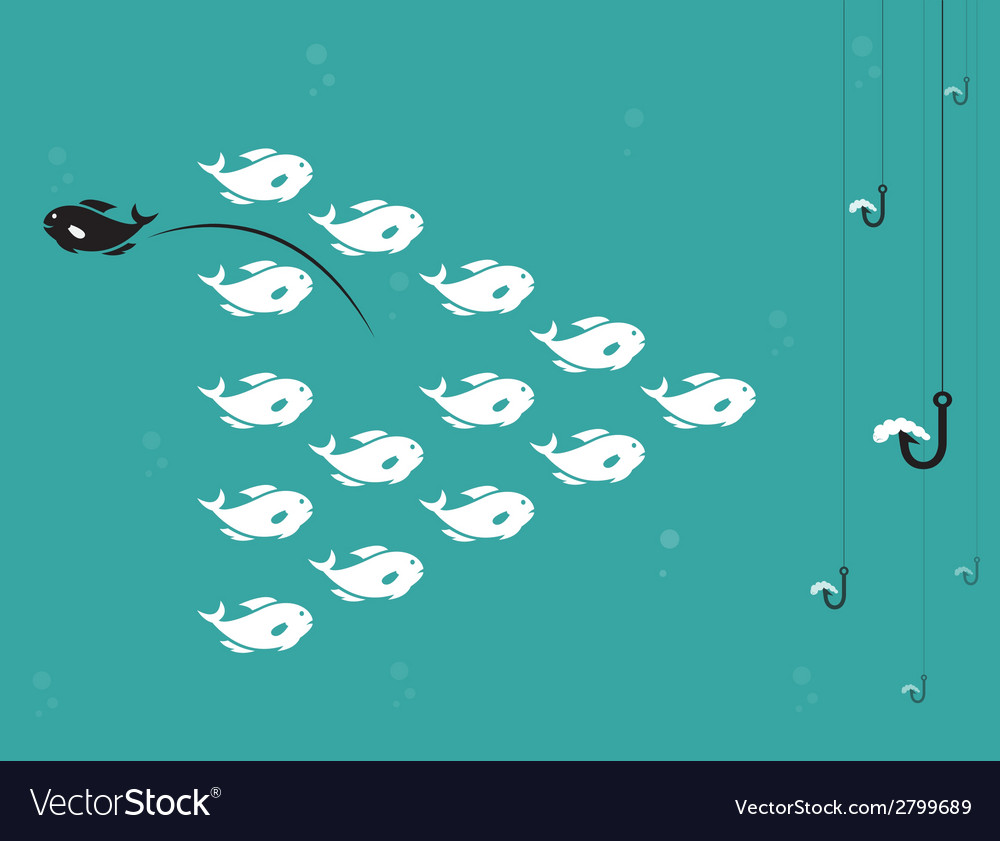 Image of fish and hook and bait vector | Price: 1 Credit (USD $1)