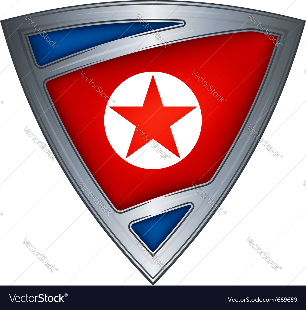 Steel shield with flag north korea vector | Price: 1 Credit (USD $1)