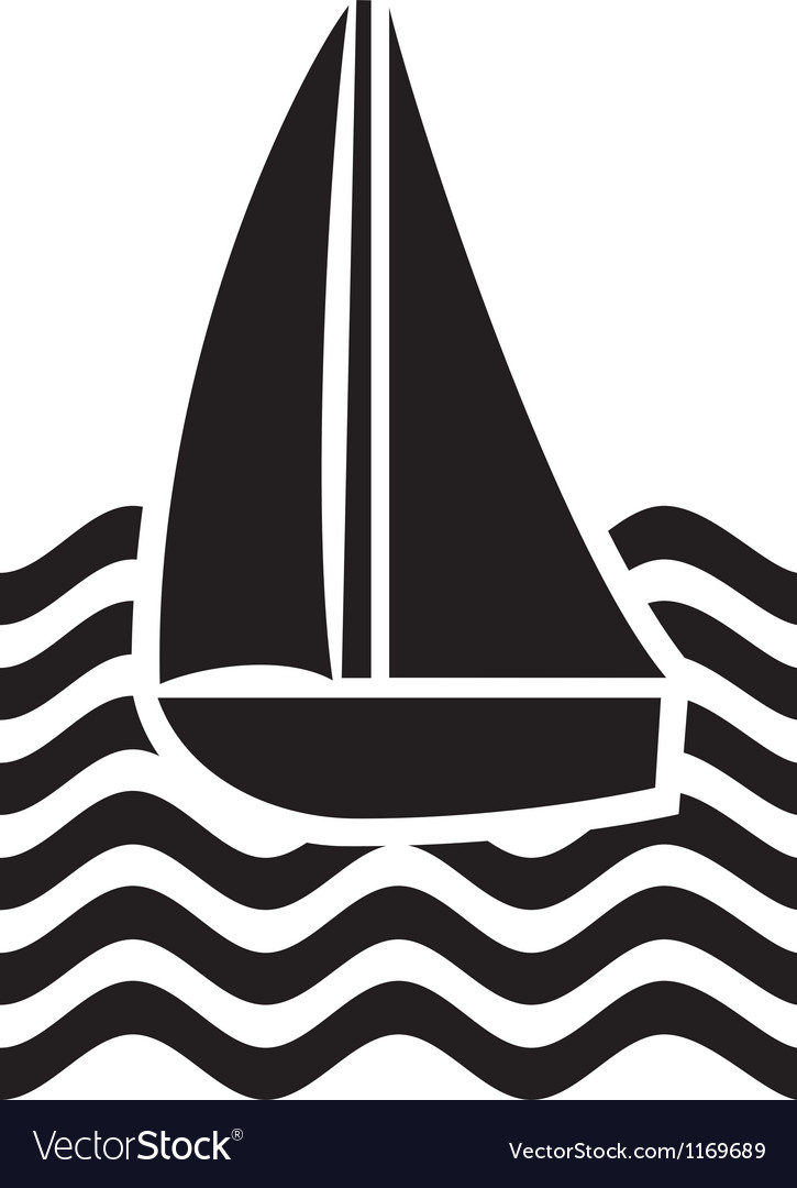 Stylized yacht-sailboat vector | Price: 1 Credit (USD $1)
