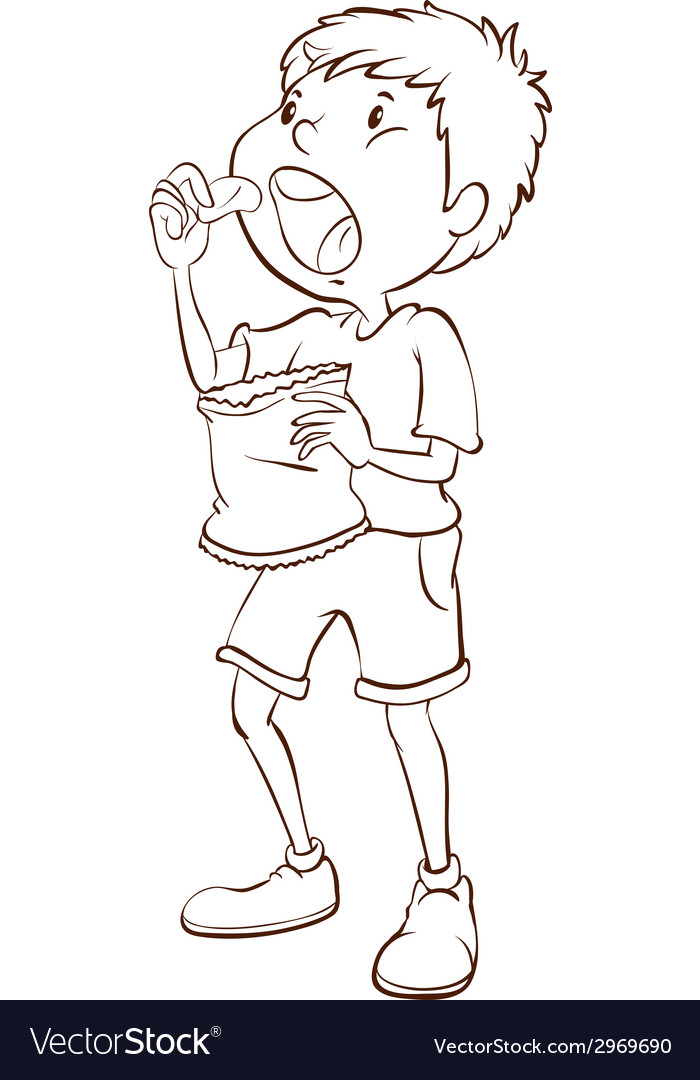 A simple sketch of a boy eating vector | Price: 1 Credit (USD $1)