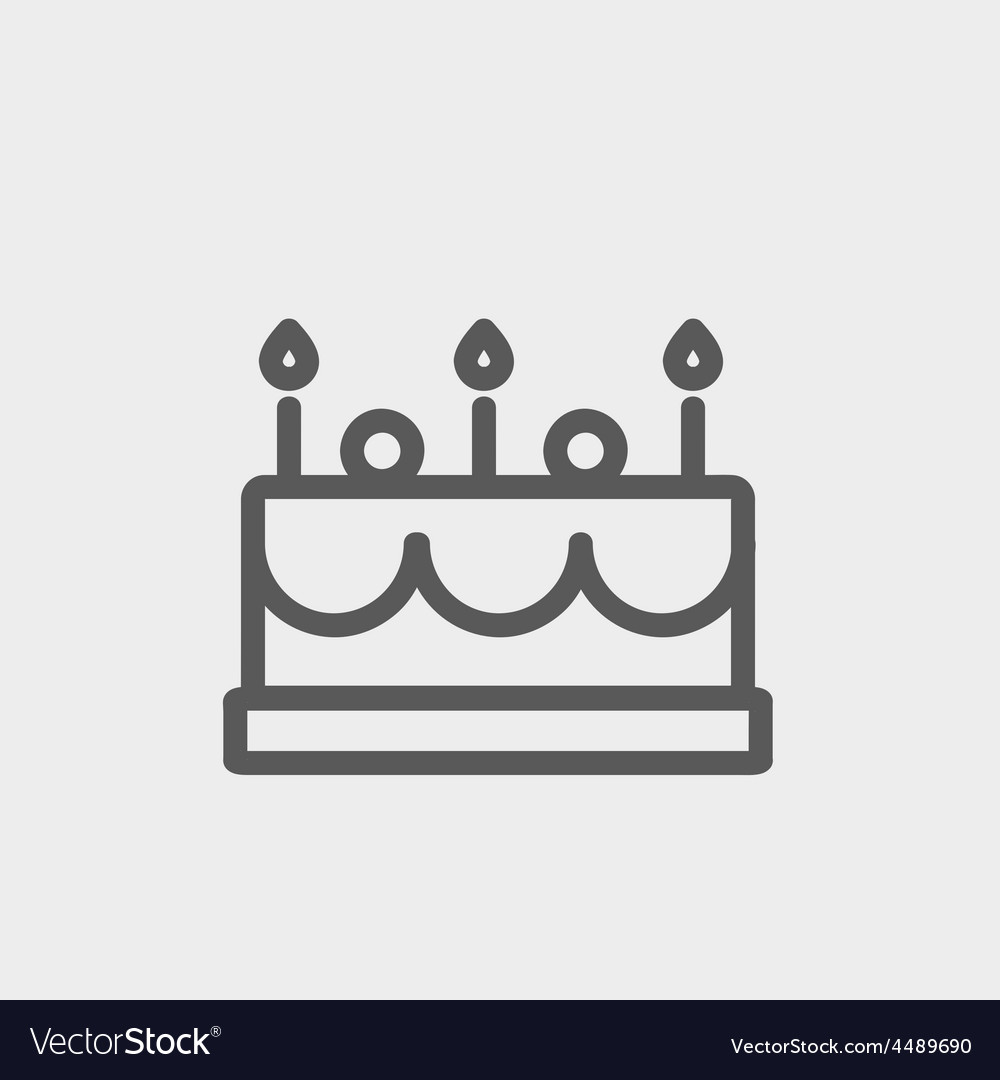 Birthday cake with candles thin line icon vector | Price: 1 Credit (USD $1)