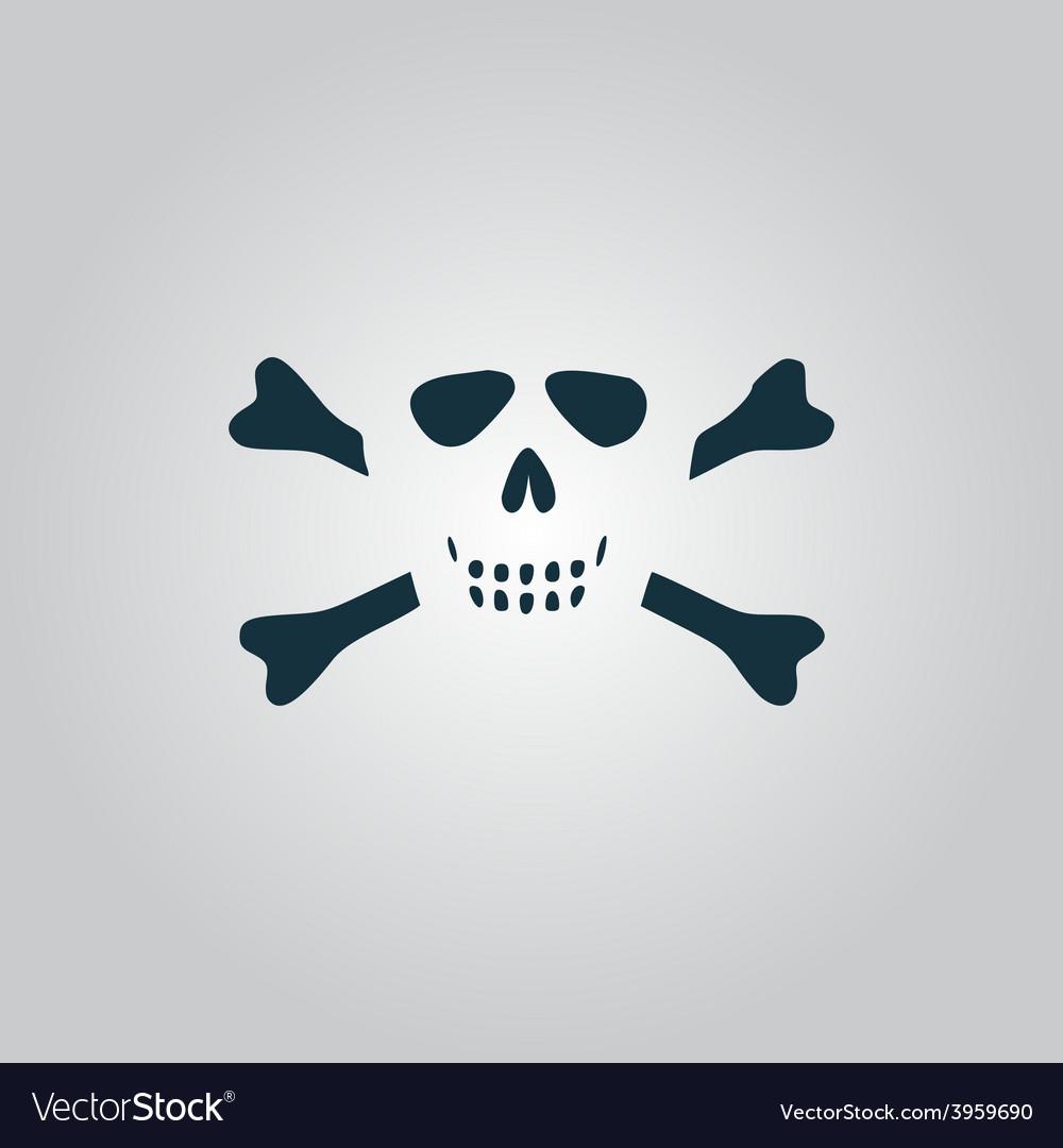 Cartoon skull with bones icon vector | Price: 1 Credit (USD $1)