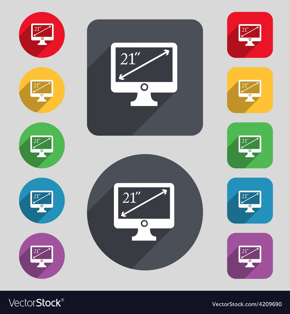 Diagonal of the monitor 21 inches icon sign a set vector | Price: 1 Credit (USD $1)