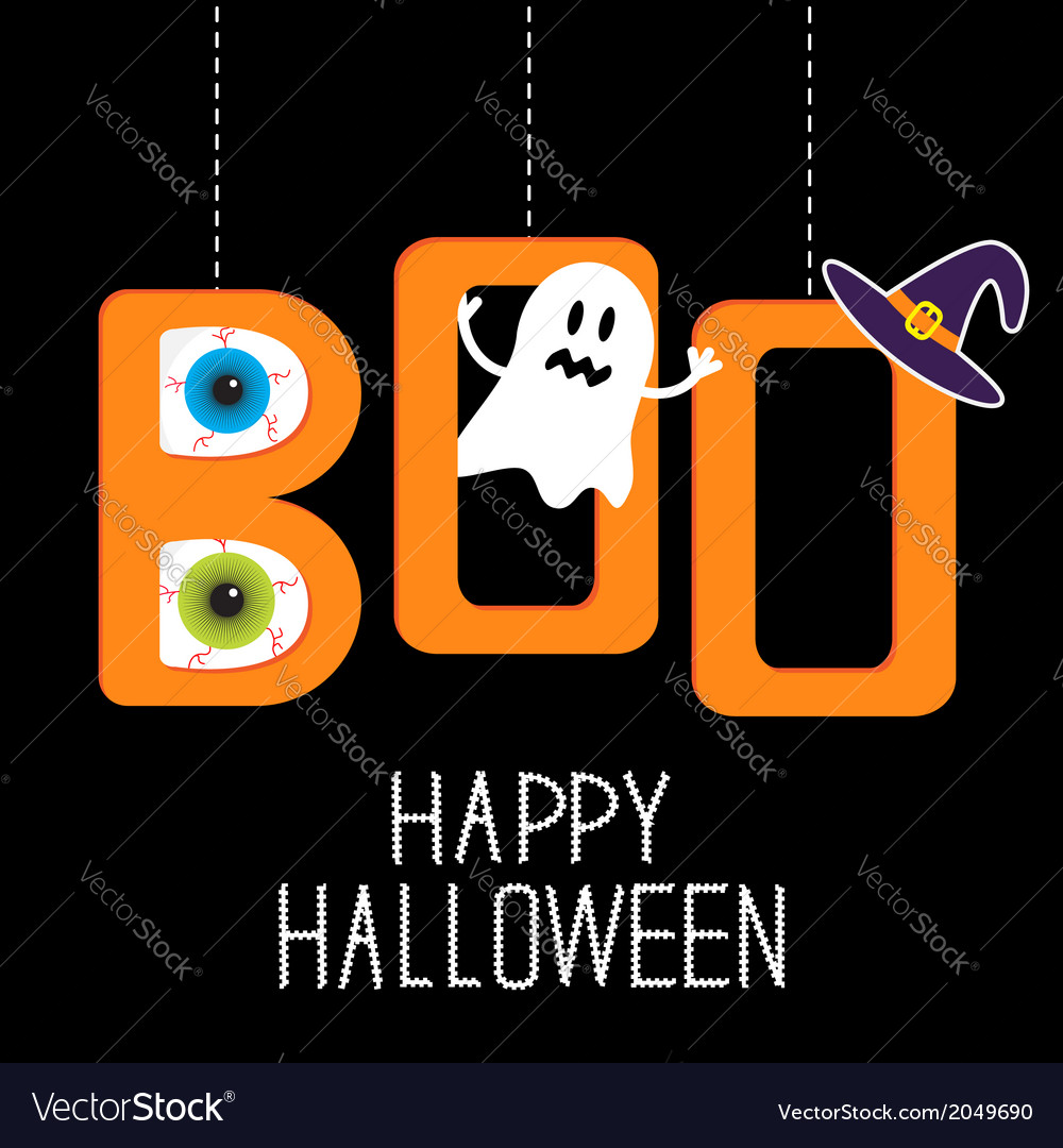 Hanging word boo with ghost eyeballs and witch hat vector | Price: 1 Credit (USD $1)