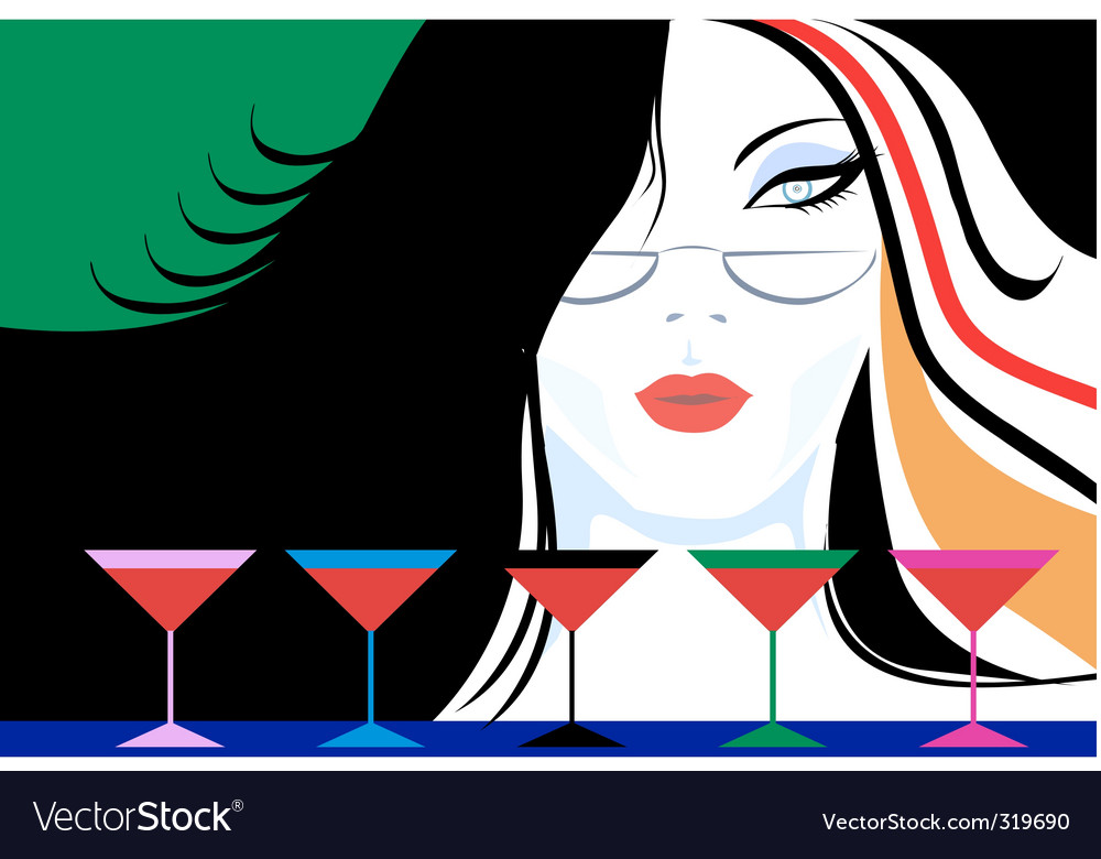 Lady and wine vector | Price: 1 Credit (USD $1)