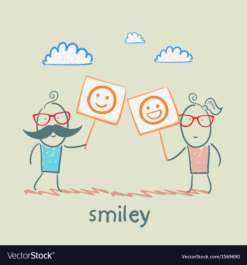 Man and girl holding posters with fun emoticons vector   Price: 1 Credit (USD $1)
