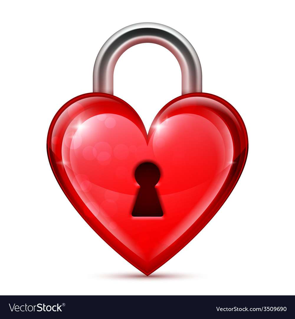 Red heart lock vector | Price: 3 Credit (USD $3)